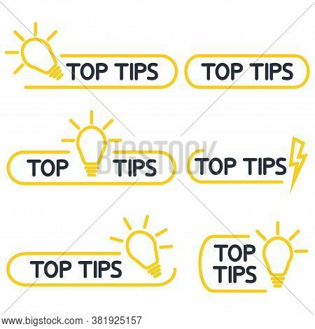Top Tips, Helpful Tricks Outline Icon Set. Helpful Idea, Solution And Trick Illustration With Light