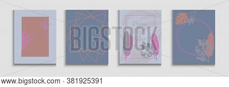 Abstract Elegant Vector Banners Set. Japanese Style Invitation. Hand Drawn Retro Background. Tie-dye