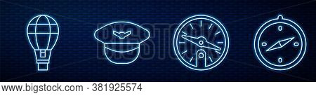 Set Line Compass, Hot Air Balloon, Pilot Hat And Compass. Glowing Neon Icon On Brick Wall. Vector