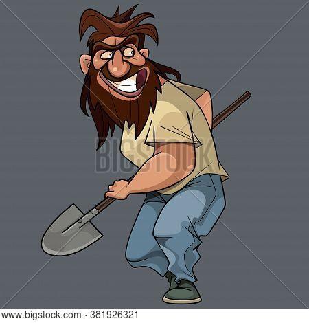 Funny Cartoon Shaggy Bearded Man Slyly Looks With A Shovel In Hand