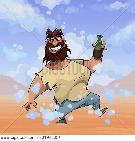 Funny Cheerful Smiling Cartoon Shaggy Bearded Man With Bottle In Desert