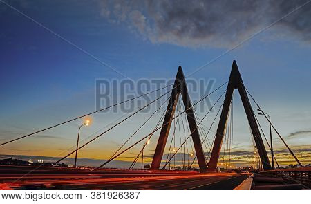 The Cable-stayed Bridge Millennium In Kazan, Tatarstan At Sunset.