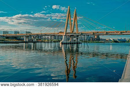 The Cable-stayed Bridge Millennium In Kazan, Tatarstan, Russia