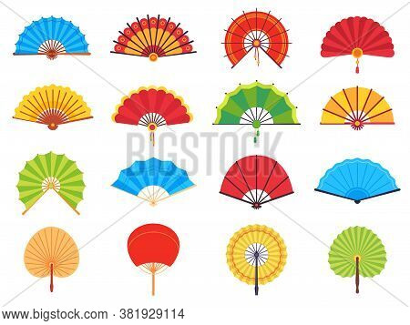 Handheld Fan. Chinese Or Japanese Paper Ancient Traditional Fans, Personal Accessories And Souvenirs