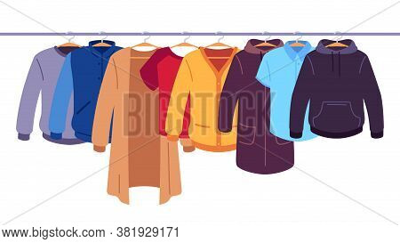 Clothes On Hangers. Storage Of Men And Women Garments On Hangers, Apparel Hanging On Rack, Wardrobe