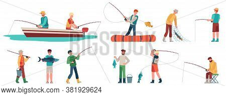 Fisherman. Fisher In Boat With Spinning, Sportsman With Fishing Accessory And Fish, Catching Fish Sp