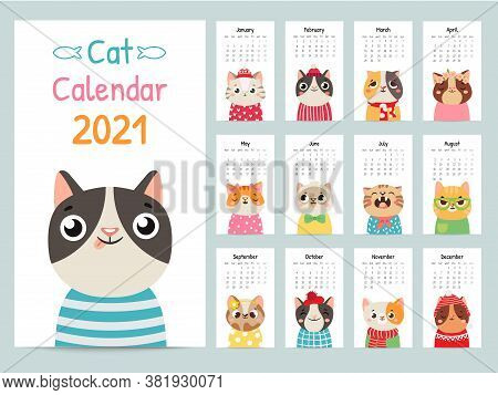 Cat Calendar. Color Gift 2021 Calendar With Cute Cats. Funny Kitty Muzzles, Pets Characters Cartoon