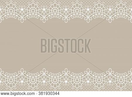 Lace Background. Luxury Floral Lace Borders Ornate Design Element With Place For Text. Wedding, Birt