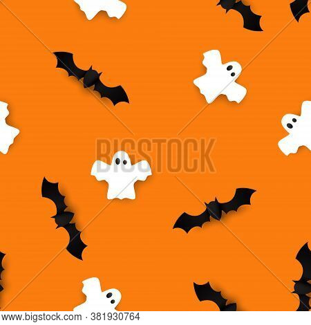 Cute Bats And Ghosts Seamless Pattern Vector Halloween Background. Vector Illustration