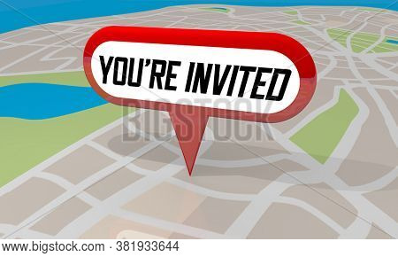 Youre Invited Party Event Sale Join Us Celebration Invitation 3d Illustration