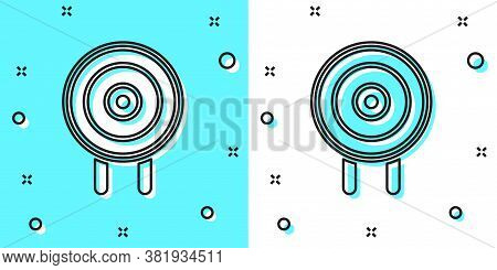 Black Line Target Sport Icon Isolated On Green And White Background. Clean Target With Numbers For S