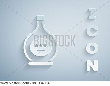 Paper Cut Bottle Of Cognac Or Brandy Icon Isolated On Grey Background. Paper Art Style. Vector Illus