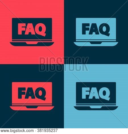 Pop Art Laptop And Faq Icon Isolated On Color Background. Adjusting, Service, Setting, Maintenance,