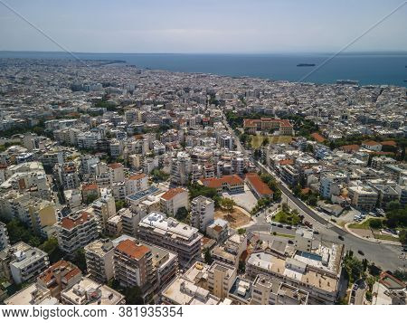 Thessaloniki, Greece Aerial Drone Landscape View Of Toumba Borough Buildings Rooftops. Day Top Panor