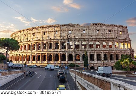 The Colosseum Or The Flavian Amphitheatre In Rome, Italy
