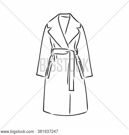 Raincoat. Monochrome Sketch, Hand Drawing. Black Outline On White Background. Vector Illustration. R