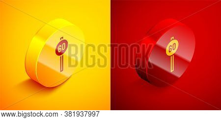 Isometric Speed Limit Traffic Sign 60 Km Icon Isolated On Orange And Red Background. Circle Button.