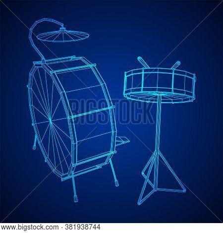 Musical Instruments Set. Rock Band Drum Kit. Percussion Musical Instrument Drums, Stick And Cymbal.