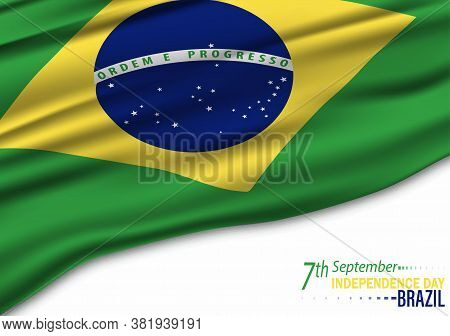 National Holiday In Brazil. Celebrating Brazil Independence Day. Abstract Waving Flag On Gray Backgr
