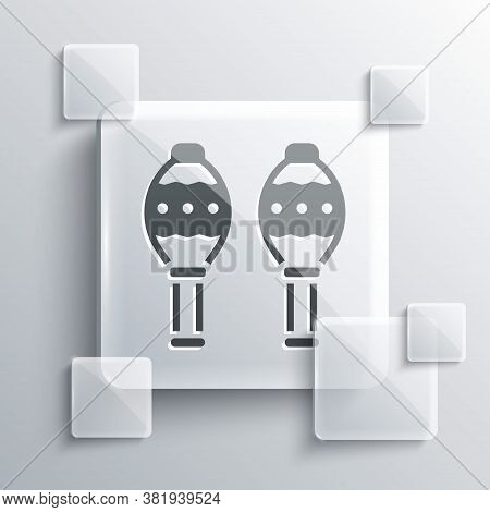 Grey Maracas Icon Isolated On Grey Background. Music Maracas Instrument Mexico. Square Glass Panels.