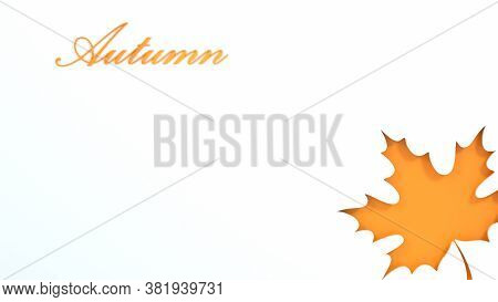 Autumn White Background, Tree Paper Leaves, Design For Sale Banner, Poster, Thanksgiving Day, Greeti