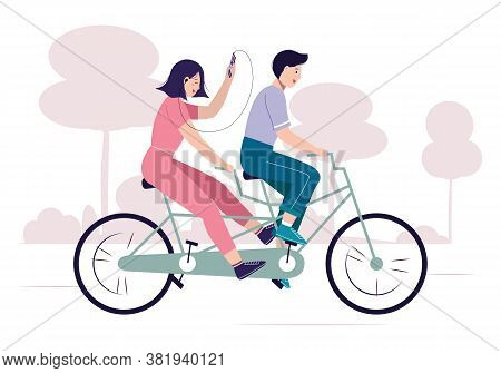 Tandem Bike With Happy Couple. Smiling Guy And Girl Enjoying Cycling. Riding Bicycle In The Park. Wa