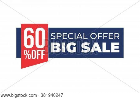 60% Sale Tag Vector Badge Template, 60% Sale Label Collection, Clearance Sale Sticker Emblem, Bargai