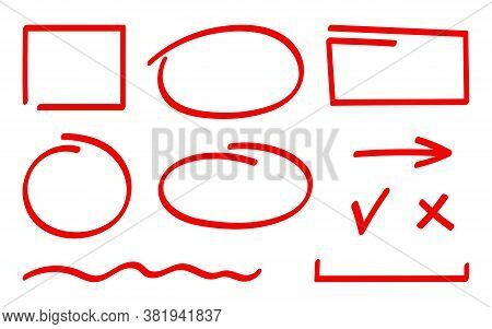 Set Of Correction And Highlight Elements. Red Hand Drawn Marker Elements, Blank Circle And Square, A