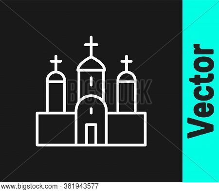 White Line Church Building Icon Isolated On Black Background. Christian Church. Religion Of Church.