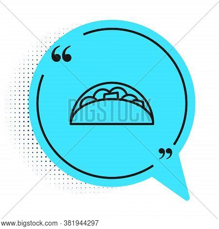 Black Line Taco With Tortilla Icon Isolated On White Background. Traditional Mexican Fast Food Menu.