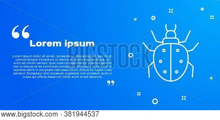 White Line Mite Icon Isolated On Blue Background. Vector