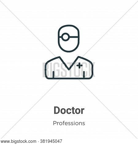 Doctor icon isolated on white background from professions collection. Doctor icon trendy and modern