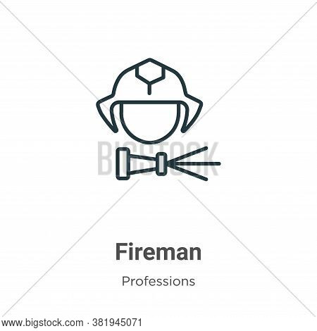 Fireman Icon From Professions Collection Isolated On White Background.