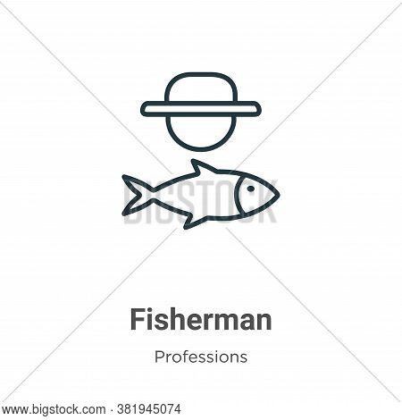 Fisherman icon isolated on white background from professions collection. Fisherman icon trendy and m