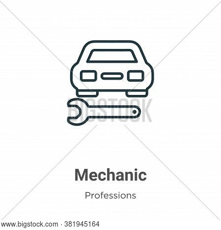 Mechanic icon isolated on white background from professions collection. Mechanic icon trendy and mod