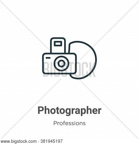 Photographer icon isolated on white background from professions collection. Photographer icon trendy