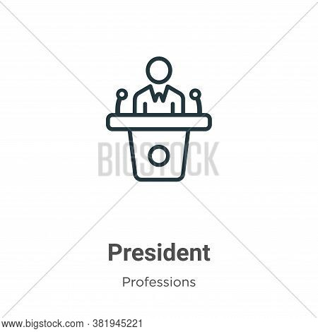 President icon isolated on white background from professions collection. President icon trendy and m