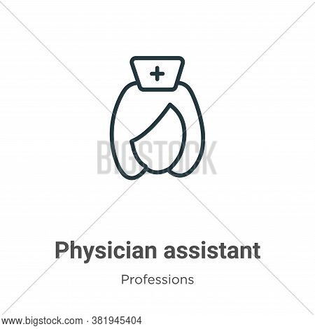 Physician assistant icon isolated on white background from professions collection. Physician assista