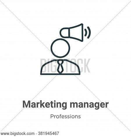 Marketing manager icon isolated on white background from professions collection. Marketing manager i