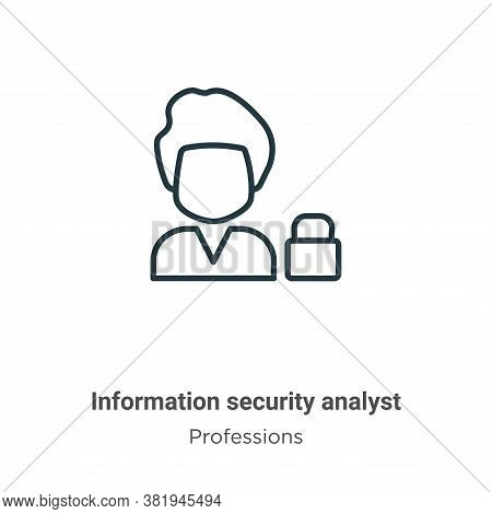Information security analyst icon isolated on white background from professions collection. Informat