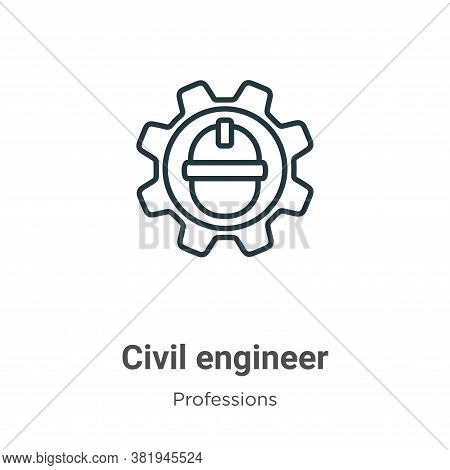 Civil Engineer Icon From Professions Collection Isolated On White Background.
