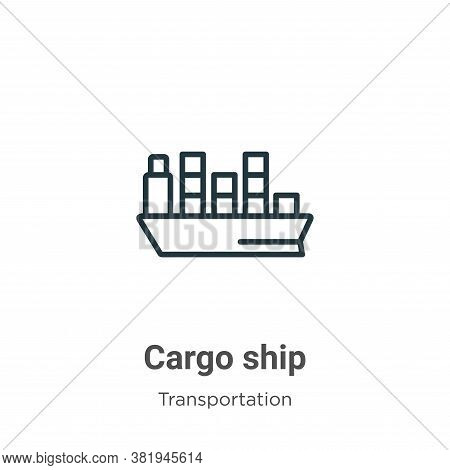Cargo ship icon isolated on white background from transportation collection. Cargo ship icon trendy