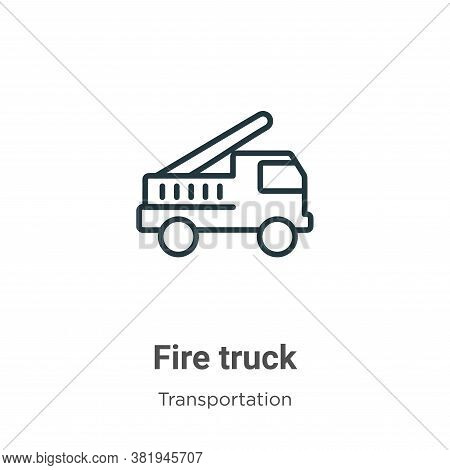 Fire truck icon isolated on white background from transportation collection. Fire truck icon trendy
