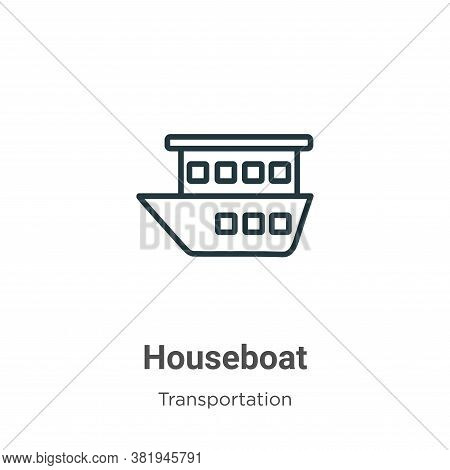 Houseboat Icon From Transportation Collection Isolated On White Background.