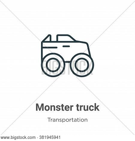 Monster truck icon isolated on white background from transportation collection. Monster truck icon t
