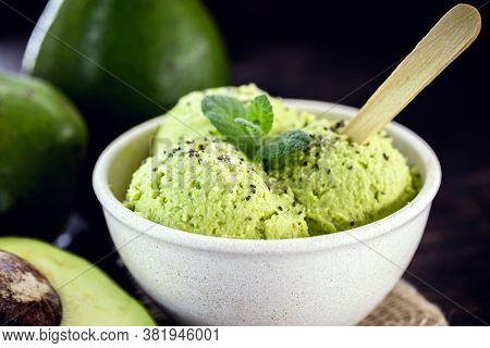 Homemade Avocado Ice Cream, Made With Frozen Organic Fruits With No Added Sugar Or Dairy. Vegan Dess