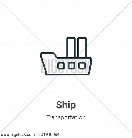 Ship icon isolated on white background from transportation collection. Ship icon trendy and modern S