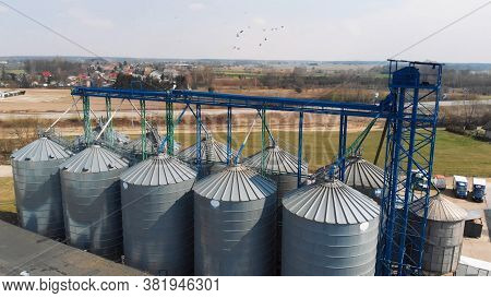 Drone Shot Of A Large Silo System Agricultural Farm In Europe.