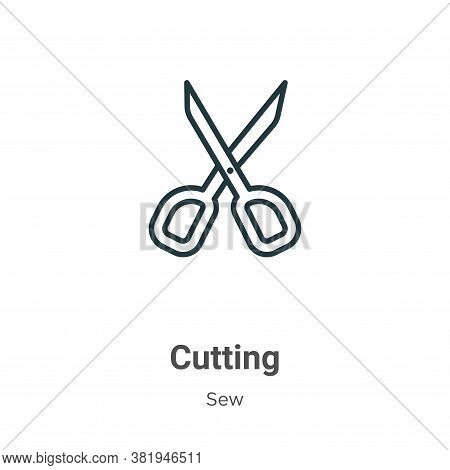 Cutting icon isolated on white background from sew collection. Cutting icon trendy and modern Cuttin