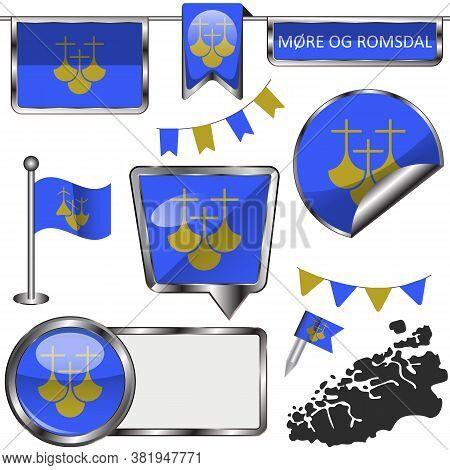 Glossy Icons With Flag Of More Og Romsdal County, Norway Country. Vector Image